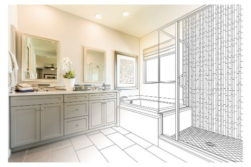 A photo of a large master bathroom with a bathtub, a shower, and a dual sink.