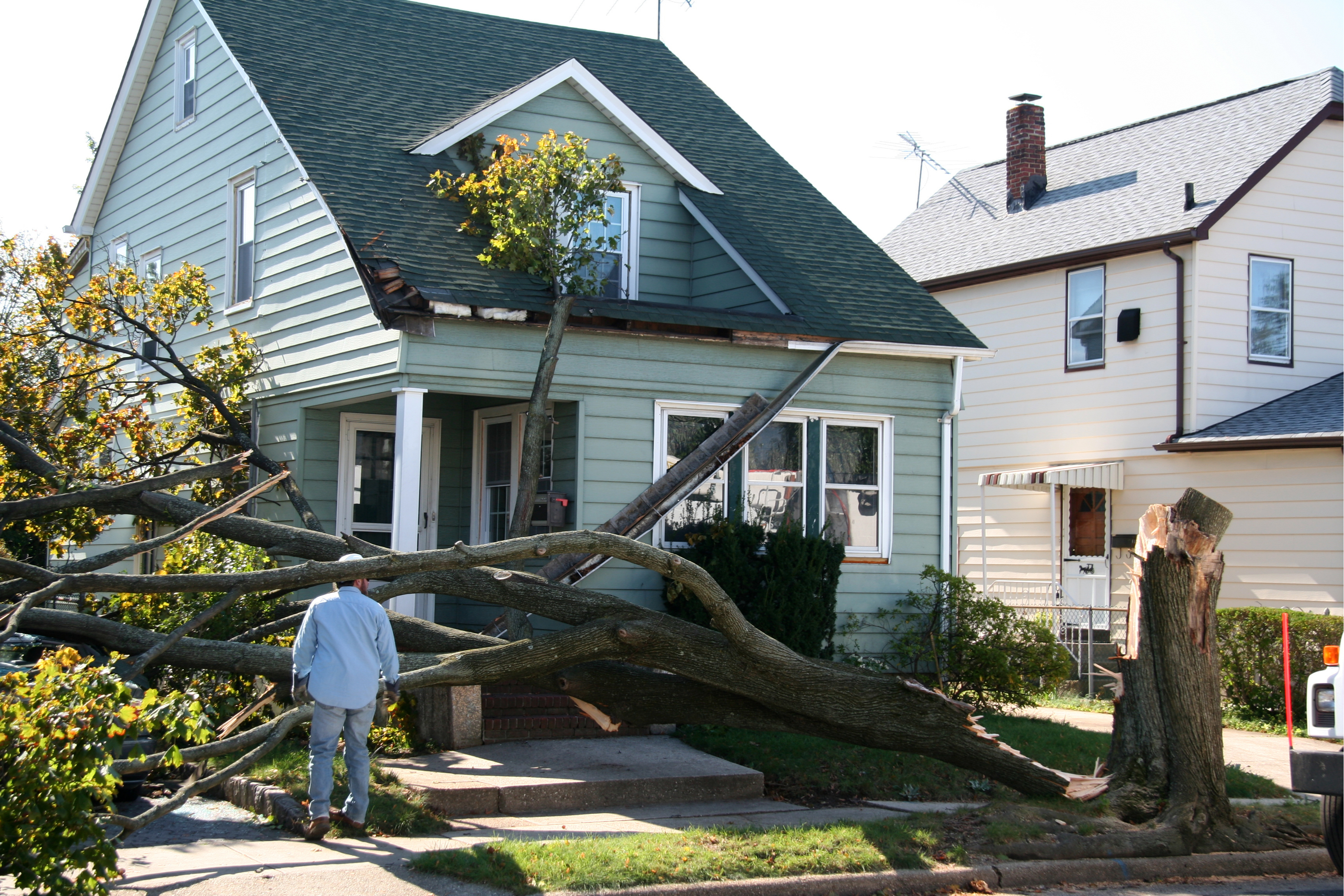 A home damaged in a storm by a fallen tree.