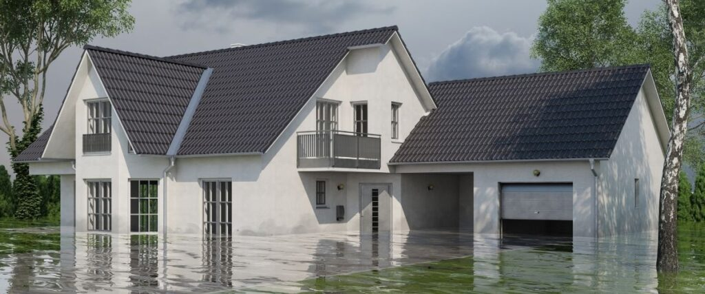 A flooded house after a storm.