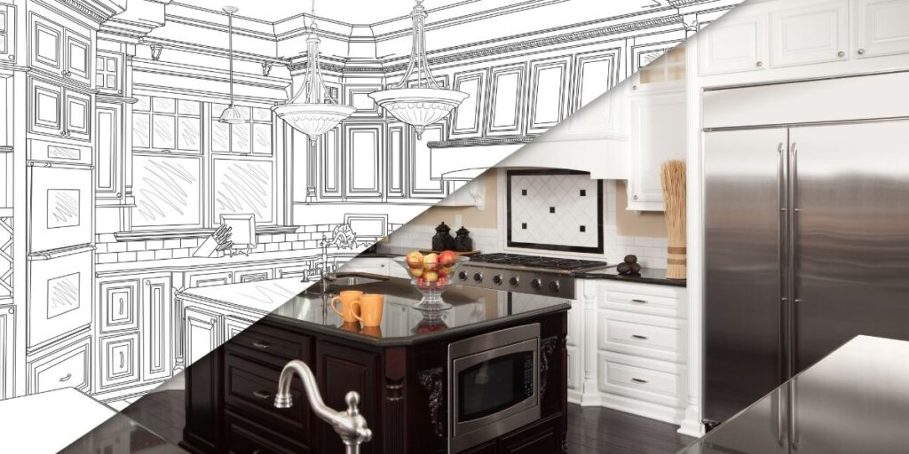 A split image of a remodeled kitchen and the blueprint drawing of the kitchen.