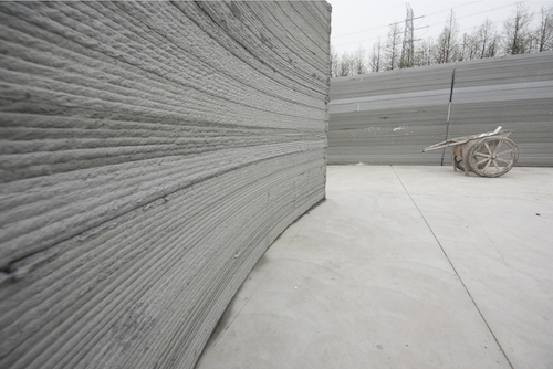 An example of 3D printing in construction using concrete.