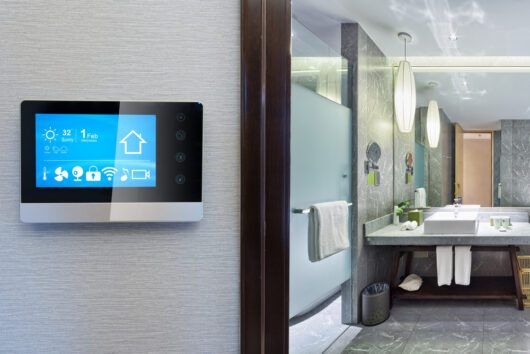 photo of a smart screen in a bathroom