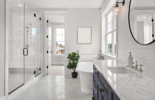 Photo of a white Modern Bathroom